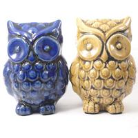 Corujas em cerâmica para decoração - Azul e Amarelo