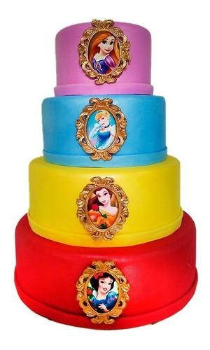 Bolo Fake  Princesas Disney Luxo  Eva Com Biscuit 4 Andares Original