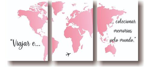 Quadros Decorativos Mapa Mundi Tons De Rosa Promoção Original
