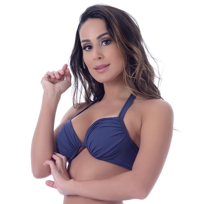 Top Summer Soul Meia Taça Com Bojo e Franzido Azul Marinho