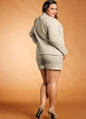 635303090b Comprar Blazer Feminino Plus Size -bege -preto -marrom Gg