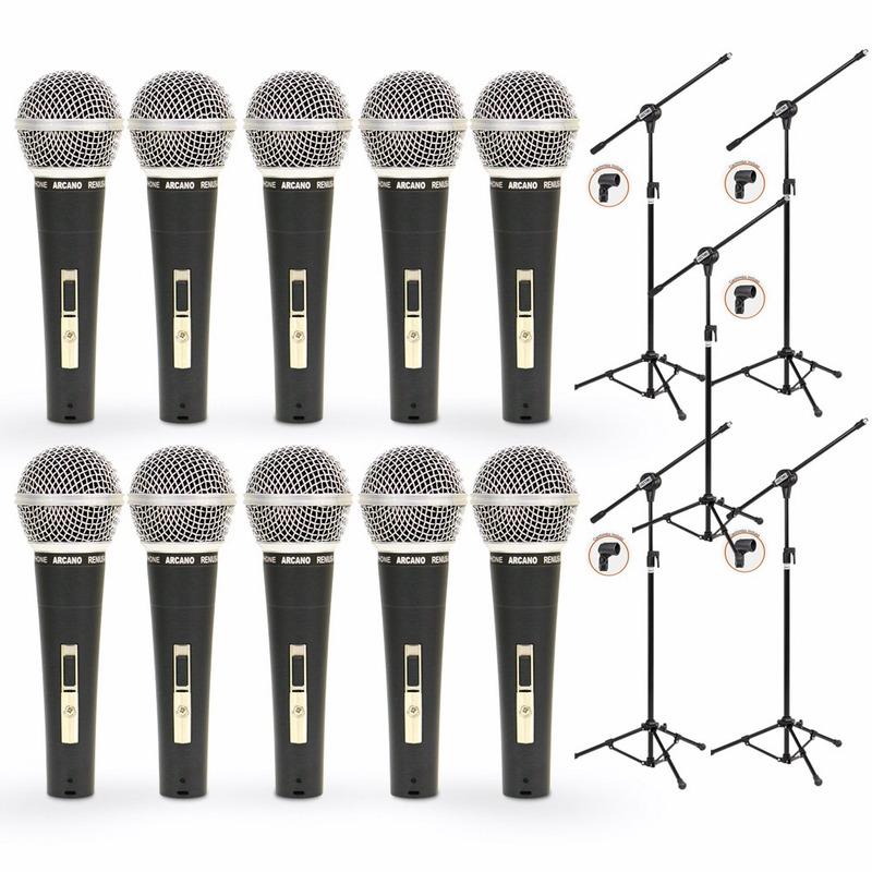 Kit 10 Microfones Arcano Renius8 Xlrxlr + 5 Pedestais Vector