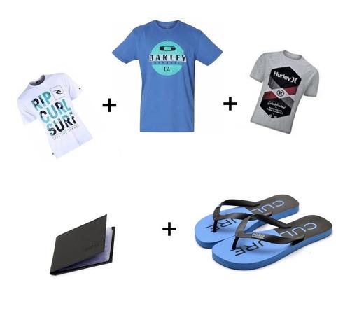 Presente Para O Dia Dos Pais Kit Camisetas Chinelo Carteira Original