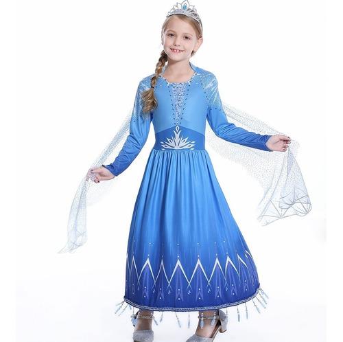 Vestido Fantasia Princesa Frozen 2 Filme Novo Elsa 2 Premium Original