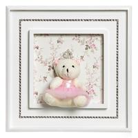 Quadro Princesa Strass Ursa Grande Rosa
