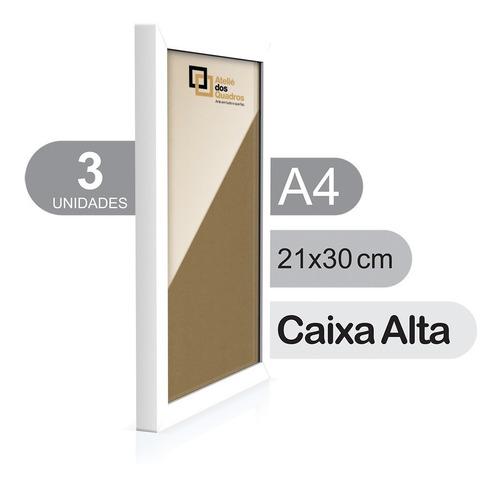 Moldura Quadro A4 21x30 C/ Vidro Poster Caixa Alta Kit C/ 3 Original