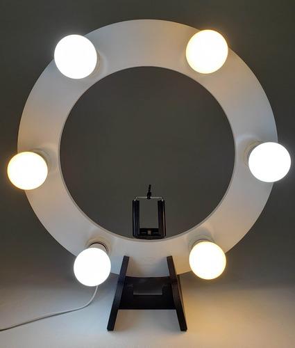 Iluminador Ring Light De Mesa 30cm Diâmetro C/ 06 Soquetes Original