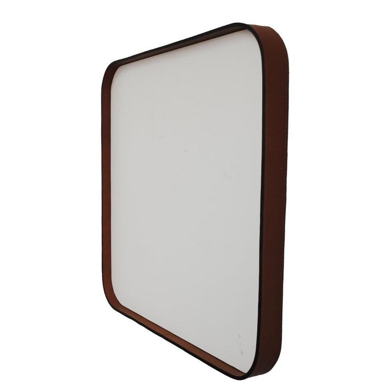 Espelho Byron Oruy com Moldura em Couro Legítimo 60cm.