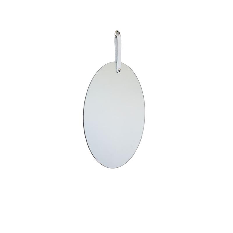 Espelho Geometric Oruy com Alça em Couro Legítimo Redondo 35cm