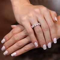 Anel aparador prata 925  coração rosa leitoso - AN030312