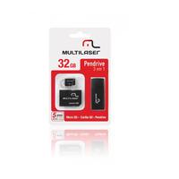 Cartão de Memória 32GB com Adaptador para Pen Drive e SD - MC113