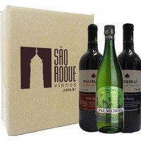 Kit Vinho Reserva Tinto Bordô Suave + Seco + Branco Niagara - Palmeiras