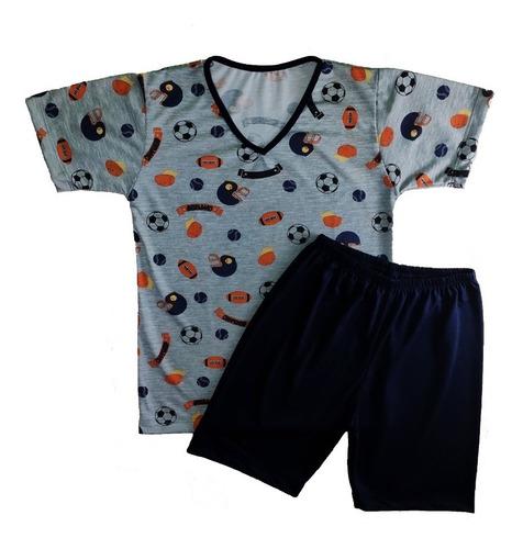 Pijama Infantil Grappin Tamanho 2 Ao 16 Masculino Curto Manga E Short Decote V Malha Pv Original