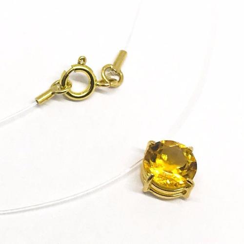 Gargantilha Ponto De Luz Ouro 18k Pedra Natural Citrino 6mm Original