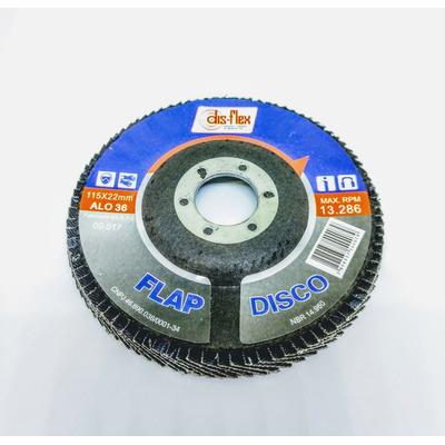10x Disco Flap Alo 4.1/2 X 7/8 - G60 - Disflex em Tatuí