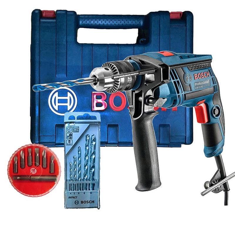 Kit - Furadeira de Impacto 650W 13mm 113D GSB 13 RE + Maleta e Kit 5 Brocas +Jogo 7 Bits + Adaptador - 110 Volts