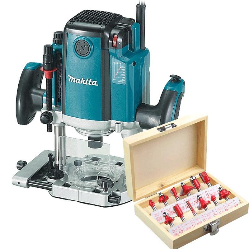 """Kit Tupia de Coluna 12mm 1650W RP2301FC Makita 110V + Kit de 12 Fresas para Madeira 1/4"""""""