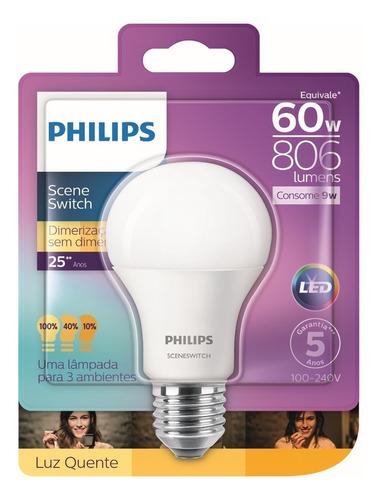 Lâmpada Led Bulbo 9w 806lm Philips Sceneswitch Bivolt 60w Original