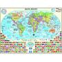 Mapa Mundi Politico Tamanho 120x0, 9 Plastificado Dobrado