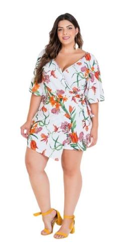 Macaquinho Saia Roupas Femininas Floral Plus Size Original