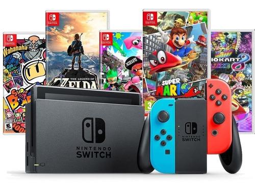 Nintendo Switch Neon C  4 Joycons + 2 Jogos + Pelícu + Grips Original