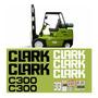 Kit Adesivos Gráfico Empilhadeira Clark C300 Etiquetas Mk