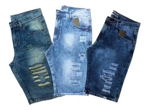 Kit 3 Bermudas Masculina Jeans Rasgadas  Envios Full Original