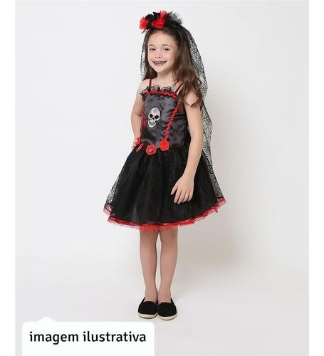 Roupa De Halloween Pra Criança Vestido Preto Noiva Cadáver Original