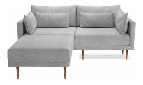 Sofá Confort Moderno Pé Palito + Puf Eco Linho Algodão 1.80m Original