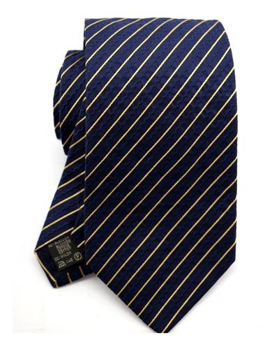 Gravata Italiana Azul Marinho Listrada Formatura Noivo B0392 Original