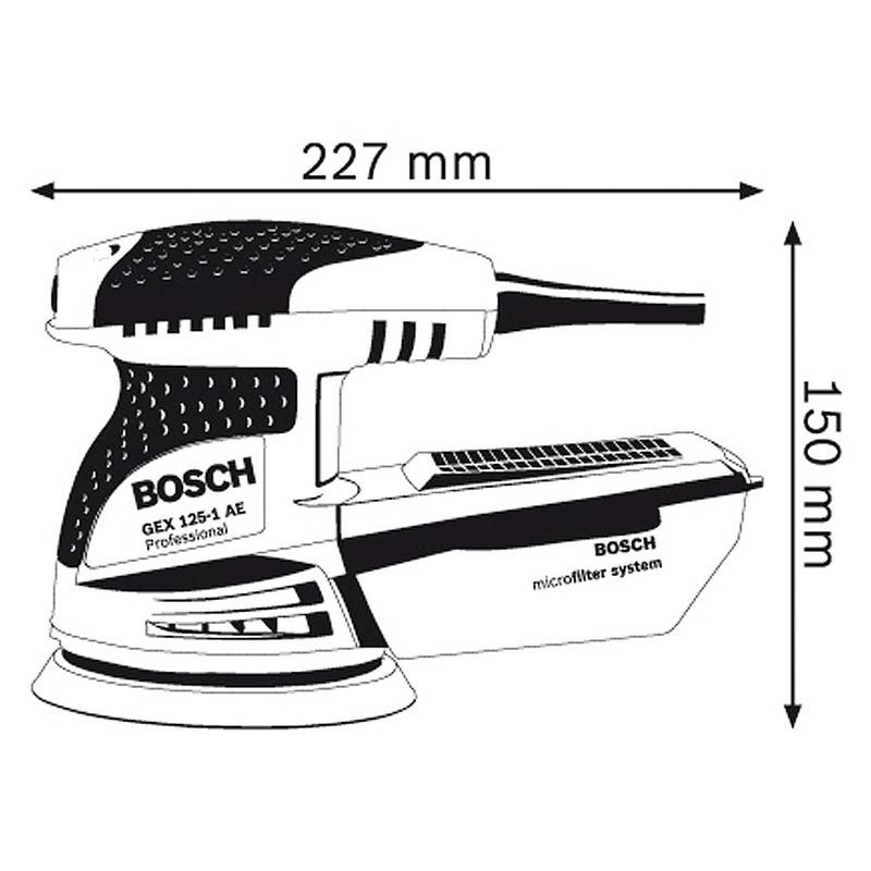 Lixadeira Rotativa/Excêntrica 125 mm 250 Watts + Coletor de Pó - GEX 125-1 AE Bosch - 0.601.387.5D0