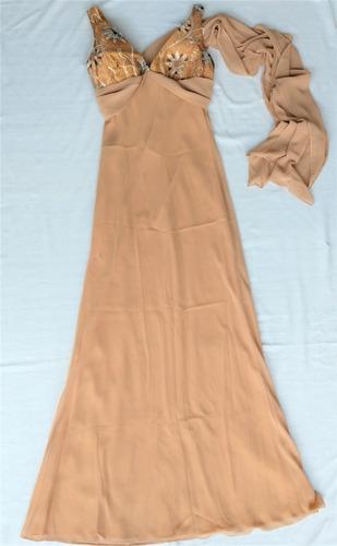 Vestido Longo Festa Caramelo Decote V - Usado Apenas 1 Vez! Original