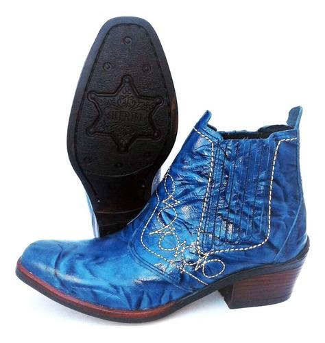 Bota Botina Country Rodeio Peao Couro  Azul Jeans Calça Masculino Solado Salto Carrapeta Pra Cavalgada Boiadeiro Original