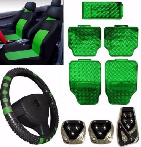 Kit Verde Capa Banco Carro+tapete+volante Corsa Sedan