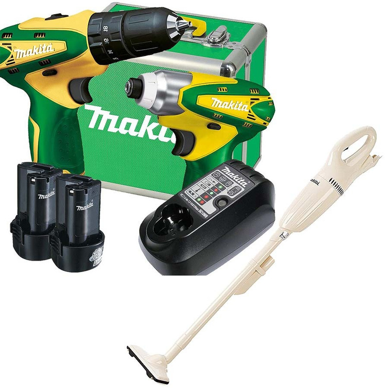 Kit Furadeira e Parafusadeira HP330DBR/TD090DBR + Carreg e 2 Baterias - DK1493BR Bivolt + Aspirador - Makita