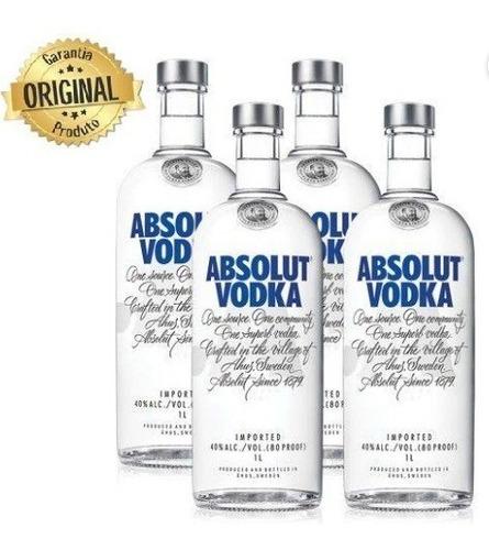 Kit Vodka Absolut  1l - 4 Unidades Original
