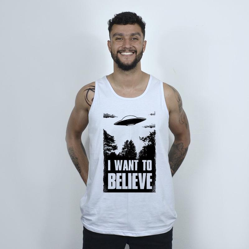 CAMISETA REGATA BRANCA - I WANT TO BELIEVE