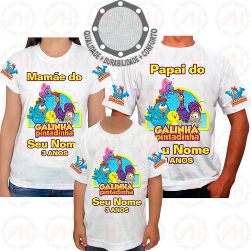Kit 3 Camisetas Galinha Pintadinha Personagens Ah01416 Original