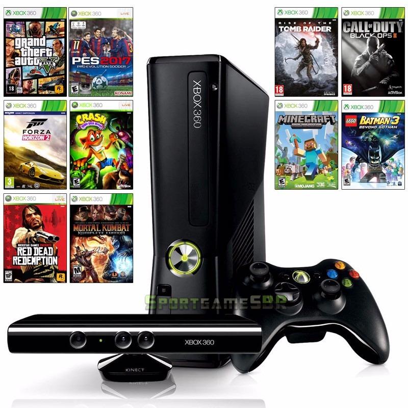 Xbox slim kinect controle jogos frete