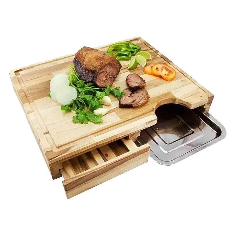 Tabua para churrasco com gaveta e bandeja  36,5 x 43 cm primewood