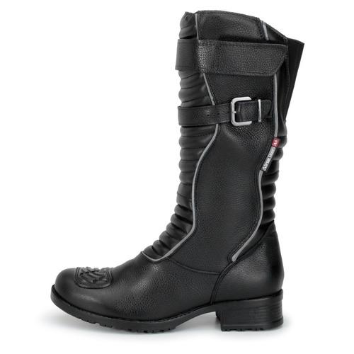 Bota Motociclista Feminina Em Couro Refletivo Atron Shoes