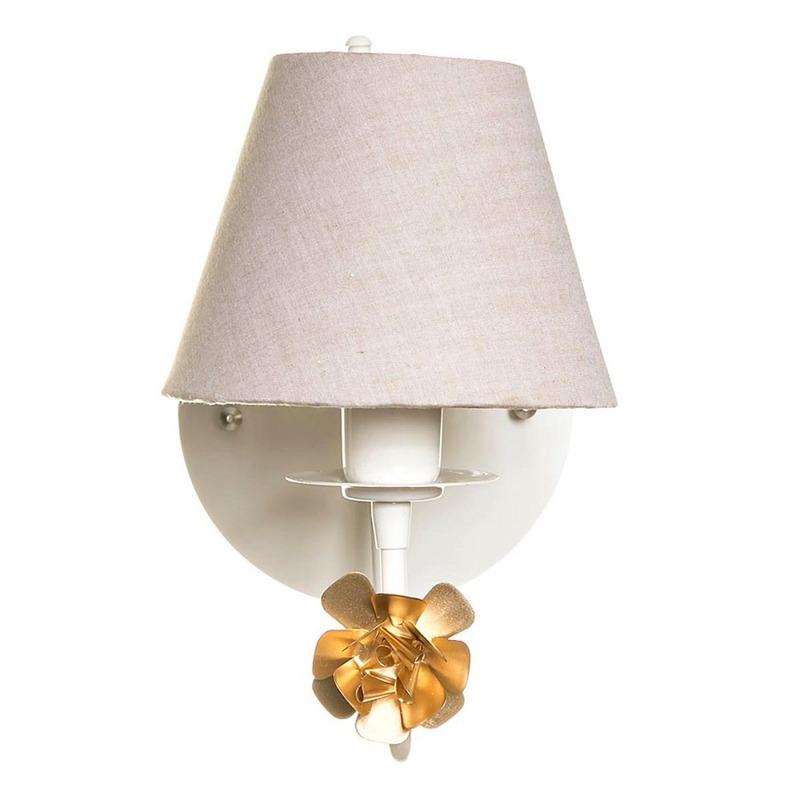 Arandela 1 Lampada Flor Dourada