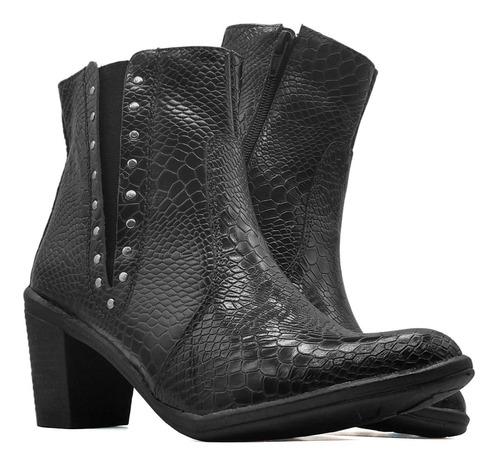 Bota Coturno Feminino Piton Croco Ankle Boot Couro Mod 2802 Original