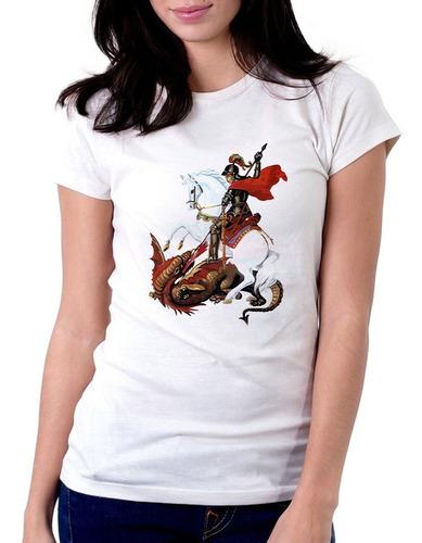 Camiseta Feminina Estampada São Jorge Sl634 Original