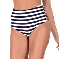 Calcinha Summer Soul Hot Pants Listrado Branco e Preto