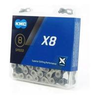 CORRENTE KMC X8 SILVER / PRATA 116 ELOS - 6V / 7V / 8V