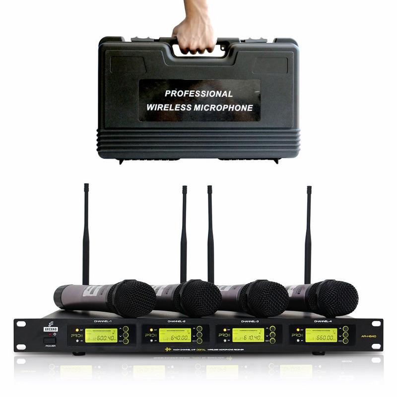 AR-HS40 MICROFONE SEM FIO UHF COM 4 BASTÕES TRANSMISSORES DE MÃO ARCANO
