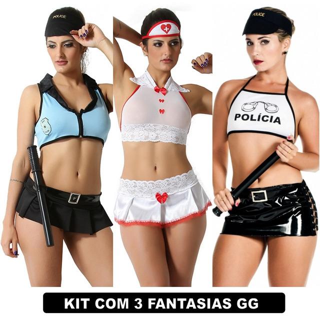 f7ab6cae8 Moda Íntima Fantasia Plus Size Feminino Kit Com 3 Uni Gg em Monnerat ...