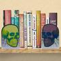 Suporte Aparador De Livro Caveiras Neon