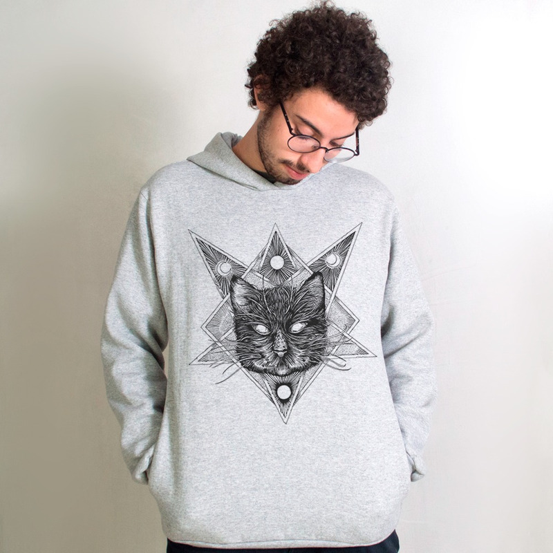 MOLETOM CINZA - NIGHT CAT